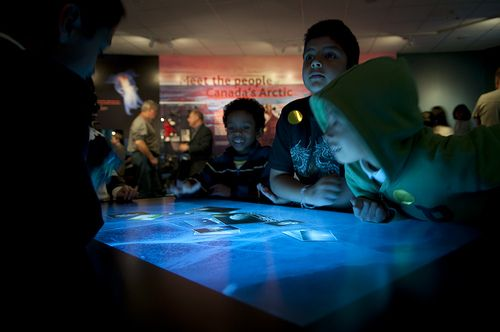 Multitouch table interactive exhibit at Vancouver Aquarium.