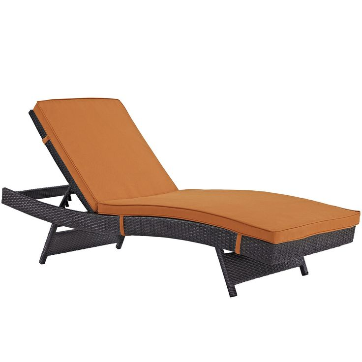 Plutus Brands MF1696 Outdoor Patio Chaise, Espresso Orange. Modern Outdoor Chaise Lounge Synthetic Rattan Weave Machine Washable Cushion Covers Powder Coated Aluminum Frame Water & Uv Resistant. Machine Washable Cushion Covers. Material: synthetic rattan weave, powder coated aluminum; cushion density is 24KG/M3.