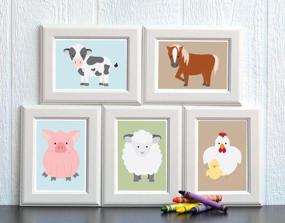 Schattige schilderijtjes van boerderijdieren voor de kinderkamer