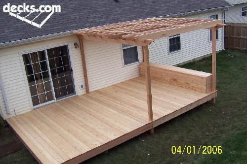 Nice simple deck with half covered in pergola plus box seat... - Picmia