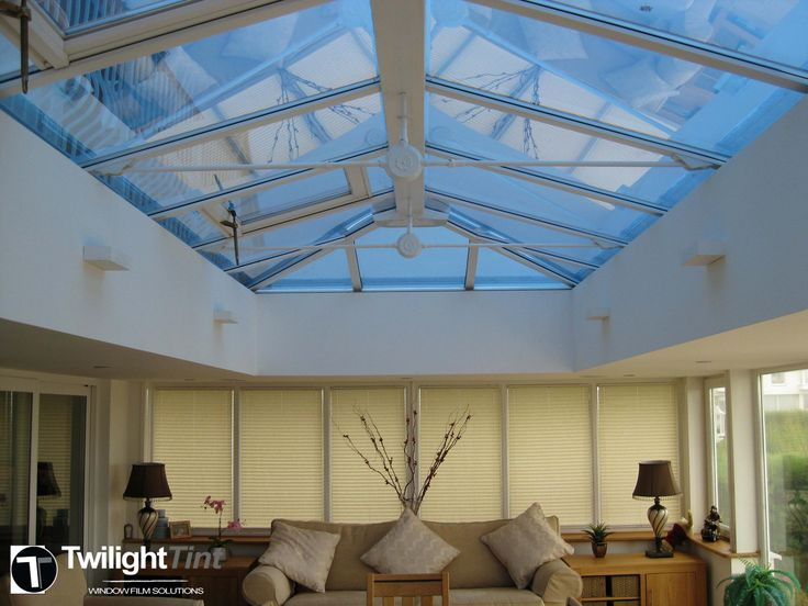 Conservatory roof with blue reflective installed to reduce