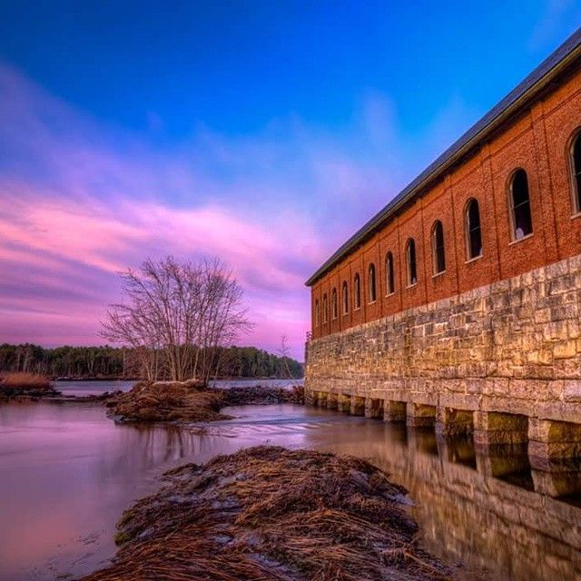 Penobscot River Sunrise 2 in Bangor Maine. This is another sunrise shot taken at the Bangor Dam and Salmon Pool from earlier last week. I really liked this building and the contrast of the brick against the blue and pink colors in the sky.  #igersusa @igersusa #newengland #maine  #sonyA7II #sony  #landscapephotography #landscape #Sunrise  #visitmaine #scenesofme #bangor #penobscotriver #ig_captures_landscape #Sunrise #igs_america #ig_maine by tsloanhopk