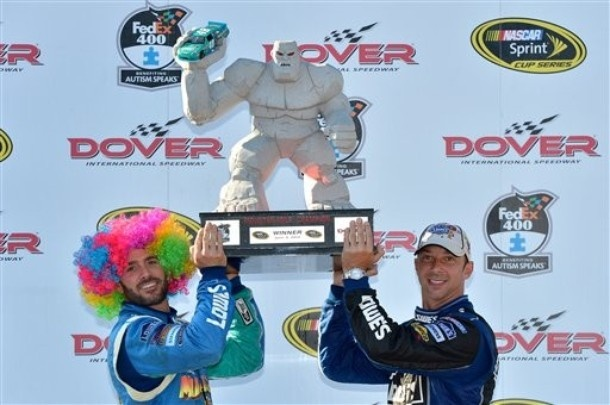Jimmie and Chad hold up Dover trophy after taming Miles the Monster!!: Dovers Trophy, Tame Miles, Miles Pictures, Dovers Miles, Dovers Speedway