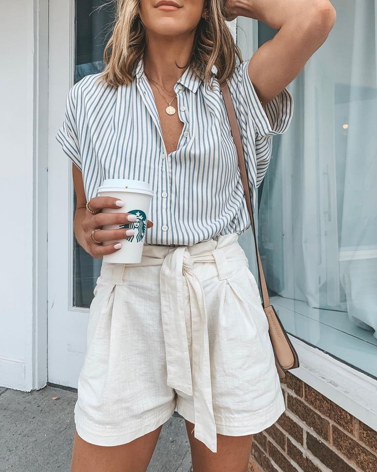 Summer style . high waisted shorts and striped button down