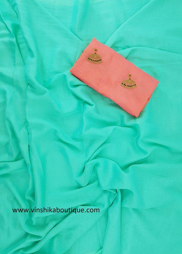 c534101a5b87a Blue color Jute silk plain saree with Jute silk buttis designer blouse