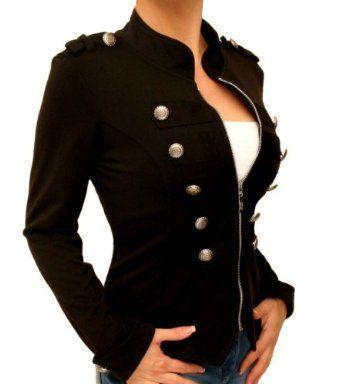 Blue Banana - Black Zip Up Stretchy Military Jacket ~ Ooooh, Love this