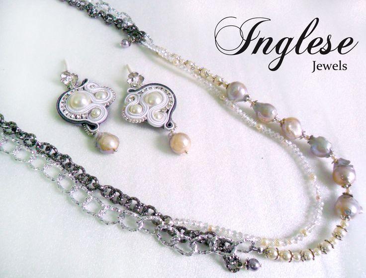 """New Collection: """"Baroque Pearls"""". In parure con gli orecchini, una bellissima collana composta da sei Pietre Barocche ed un secondo filo composto da Perle più piccole Swarovski e cristalli, fanno da contrasto due catene dark gray."""