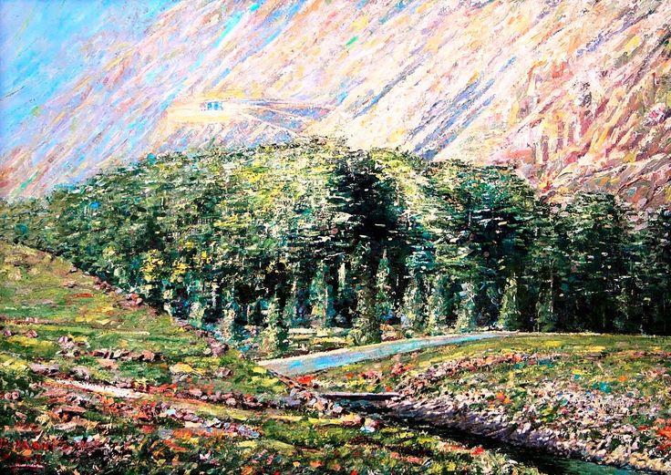 Oil-By Doctor Rida Yaghi-بريشة الدكتور رضا ياغي – – itt: Cedars of God – – itt: Cedar Forest , Cedars of God, Lebanon