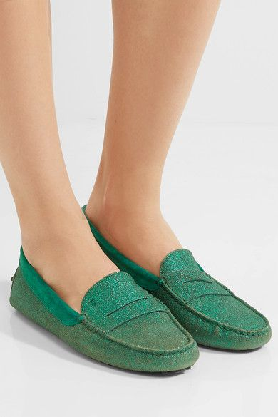 Tod's - Gommino Suede-trimmed Glittered Leather Loafers - Green - IT35.5