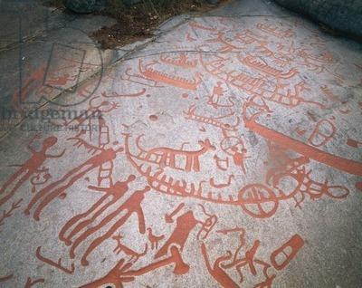 Sweden, Bohuslan region, Brastad, Backa archaeological site, Bronze Age rock carvings