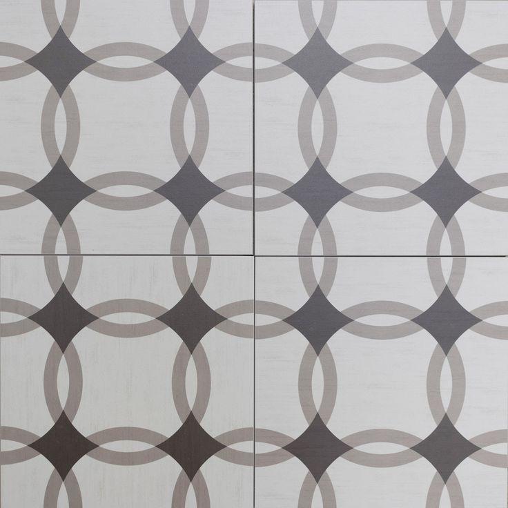 Circle style floor tiles encaustic look porcelain tiles. Grey shades with funky, retro pattern. Nautical bathroom design.