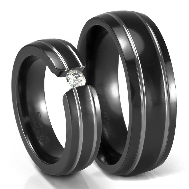 His: 7Mm Band, Black Titanium, Titanium Rings, Diamonds Rings, My Husband, Groove Black, Wedding Band, Double Groove, Sets Diamonds