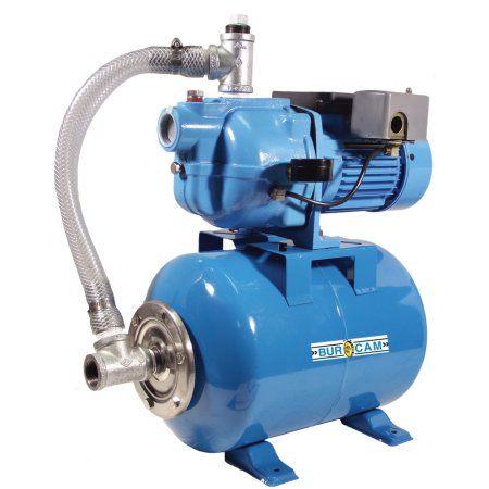 BurCam 503228S S.W. Cast Iron Jet Pump on Ml60H Tank, 3/4 hp, 115V/230V, Blue