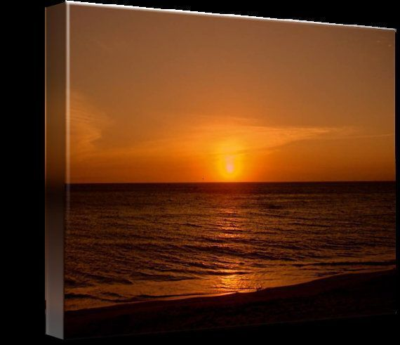 Ocean Golden Sunrise Art Canvas, 20x16,  Zen Sunrise Photograph, Beach Sunrise
