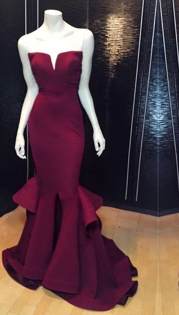 $129-Marsala Burgundy Mermaid Prom Dresses Ruffles Notched Front Slit Formal Evening Gowns