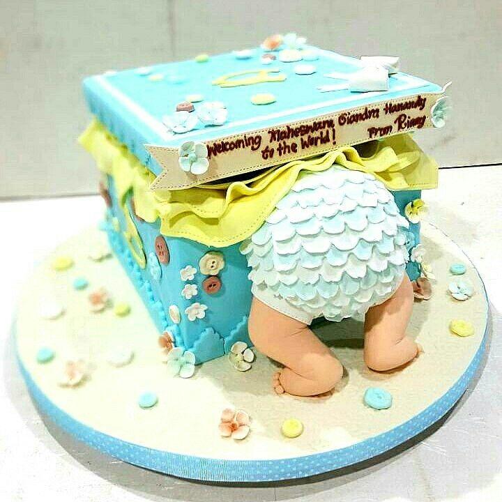 New born baby cake #cake #babycake #babyboy