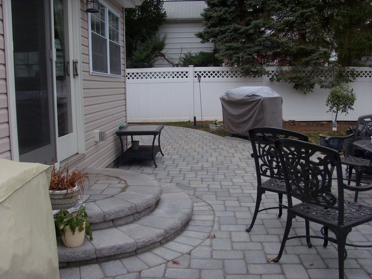 radial stairway designs | Union NJ 07083 Backyard Paver Patio With Circular Stairs and Seating ...