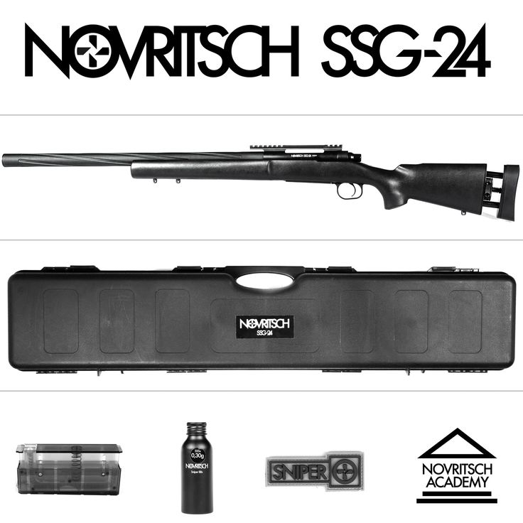 The Novritsch SSG24 is a spring powered airsoft sniper rifle which comes with internals that can handle springs up to M190 (650fps)