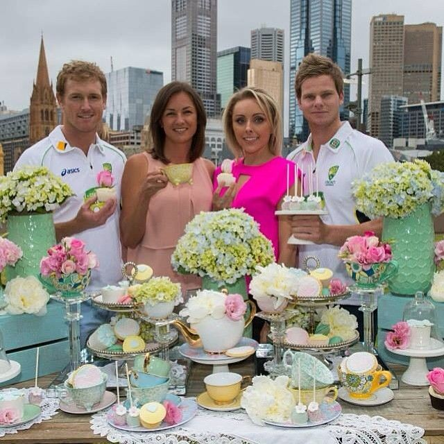 George Bailey and partner Katie Upton with Steve Smith and partner Dani Willis promoting the McGrath Foundation's Signature High Teas in Perth. Fabulous! #cricket #hightea
