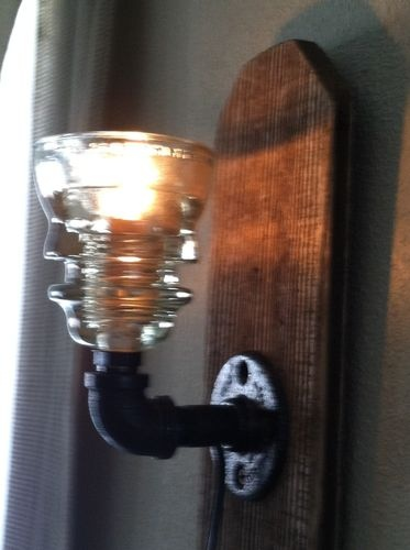 Repurposed Glass Insulator Sconce Light Industrial steel reclaimed barn wood