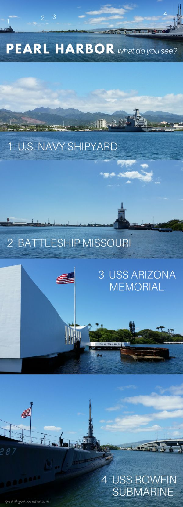 Pearl Harbor pictures: USS Arizona Memorial, Battleship Missouri, US Navy Shipyard, USS Bowfin Submarine. The Pearl Harbor memorial in Hawaii is a top travel bucket list of things to do on Oahu. Better understand facts of what propelled the US into World War II. As a national monument, it's a sort of national park in Hawaii! For culture and history activities near Honolulu, make a remembrance of the Pearl Harbor attack at this beautiful outdoor museum a part of your Hawaii vacation!