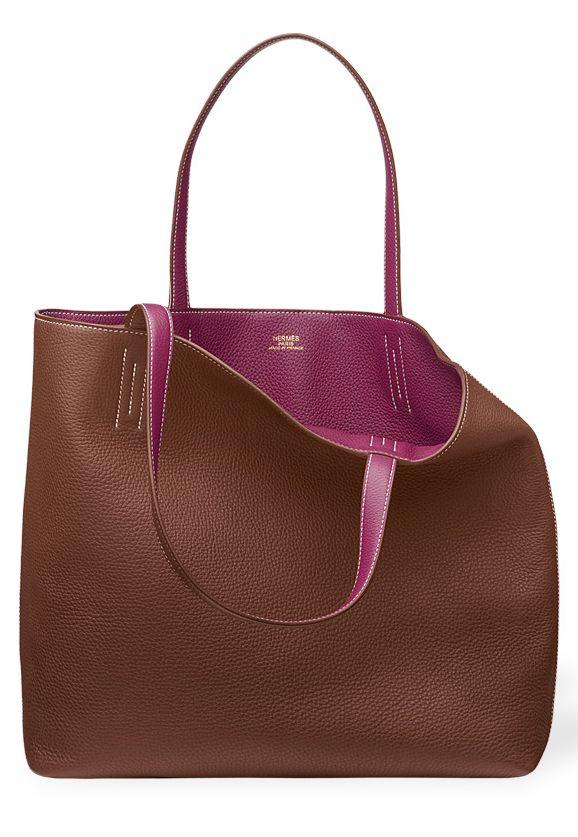 Hermes - Double Sens Brown \u0026amp; Purple leather shopper bag - Pic1 ...