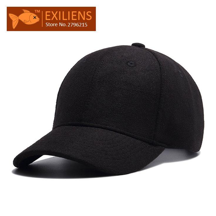 [EXILIENS] 2017 New Fashion Brand 100% Woolen Snapback Caps Solid Strapback Baseball Cap Bboy Hip-hop Hat For Men Women Fitted