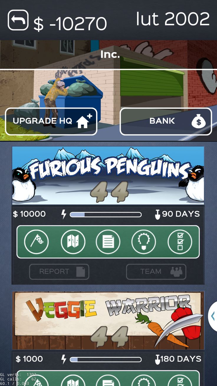 List of projects in Business Inc. mobile game