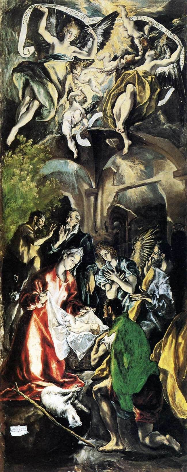 Adoration of the Shepherds by  El Greco ~ 1596
