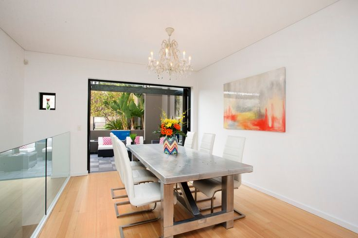 Luxurious Townhouse with Panoramic Views, solid metal table, wall art, 1/13 Russell Street Lilyfield, Pilcher Residential