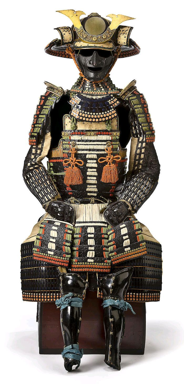 Black-lacquer Do-Maru and Myochin-school Kabuto. Helmet attributed to Muneyasu (Myochin Muneyasu), Muromachi period, 15th-16th century, armor Edo period (18th century) Constructed of lacquered-leather scales and elegantly laced in white, green and...