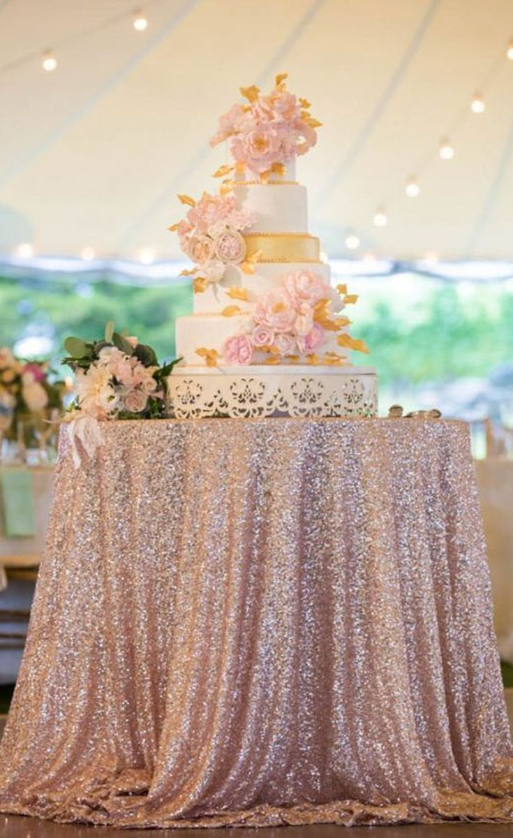 Dress up your dessert table or gift tables to make themstand out. Since this kind of fabric is hard to come by, you can always mix it with plain white tablecloths or even create your own sparkly rose gold table runners.   Rose Gold Glitter Tablecloths   8 Decor Ideas for a Rose Gold Wedding   My Wedding Favors