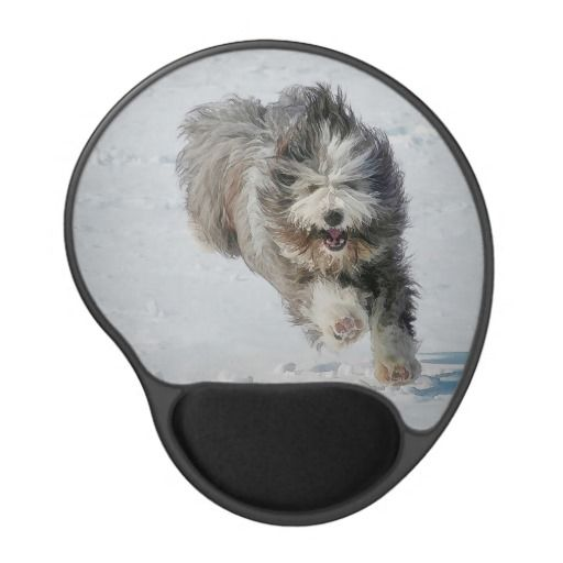 Gel Mousepad Bearded collie running in the snow