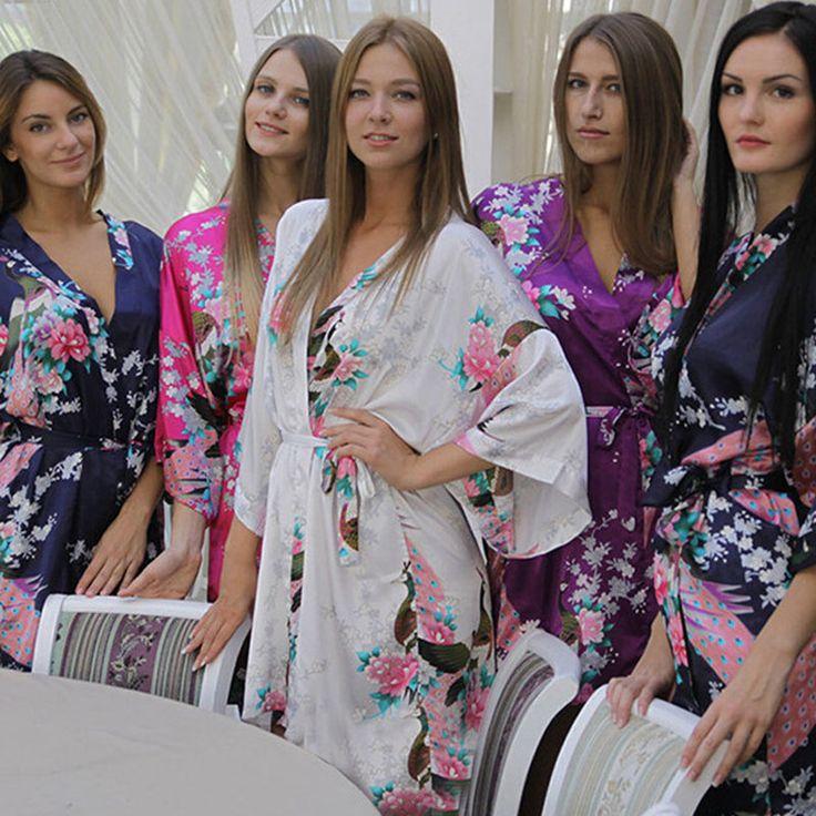 Silk Satin Wedding Bride Bridesmaid Robe Floral Bathrobe Short Kimono Robe Night Robe Bath Robe Fashion Dressing Gown For Women #Affiliate