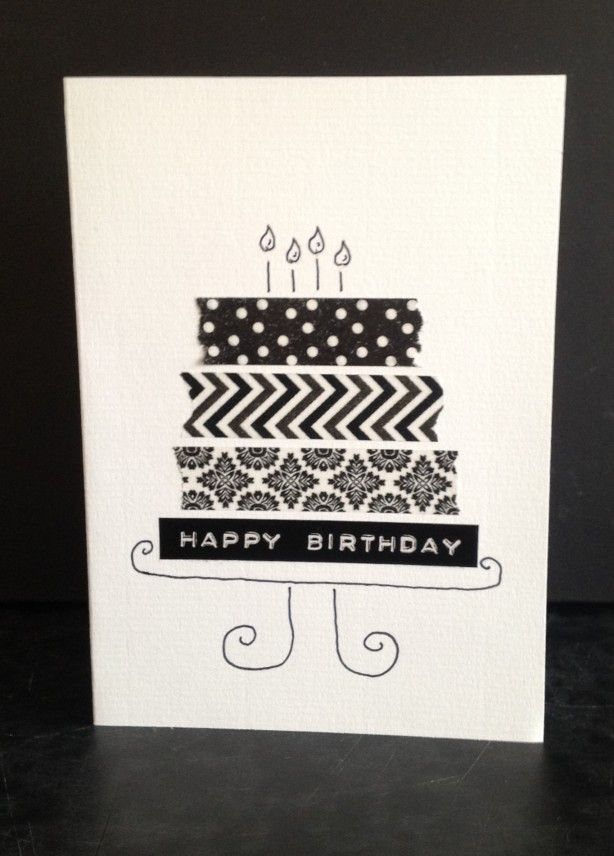 zwart/wit taart-verjaardagskaart met washi tape