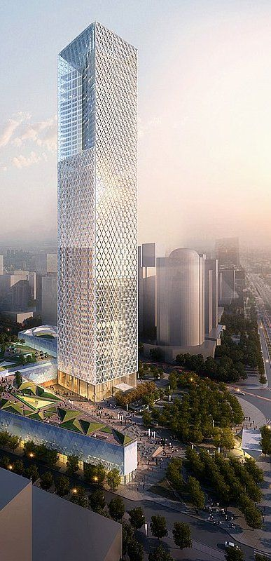 Jiangxi Nanchang Greenland Zifeng Tower, Nanchang by Skidmore Owings & Merrill (SOM) Architects :: 56 floors, height 268m