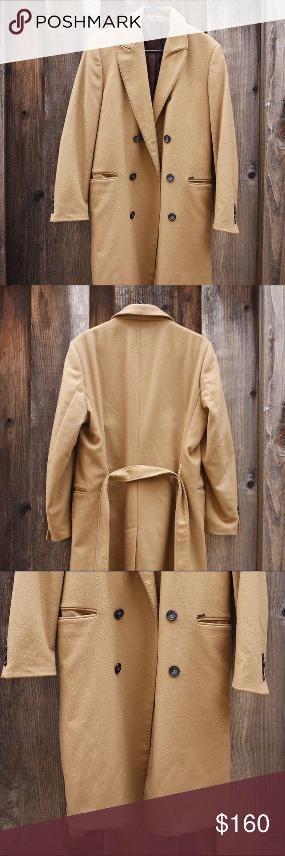 Zara men camel overcoat SIZE LARGE FITS LIKE A MEDIUM Zara Jackets & Coats