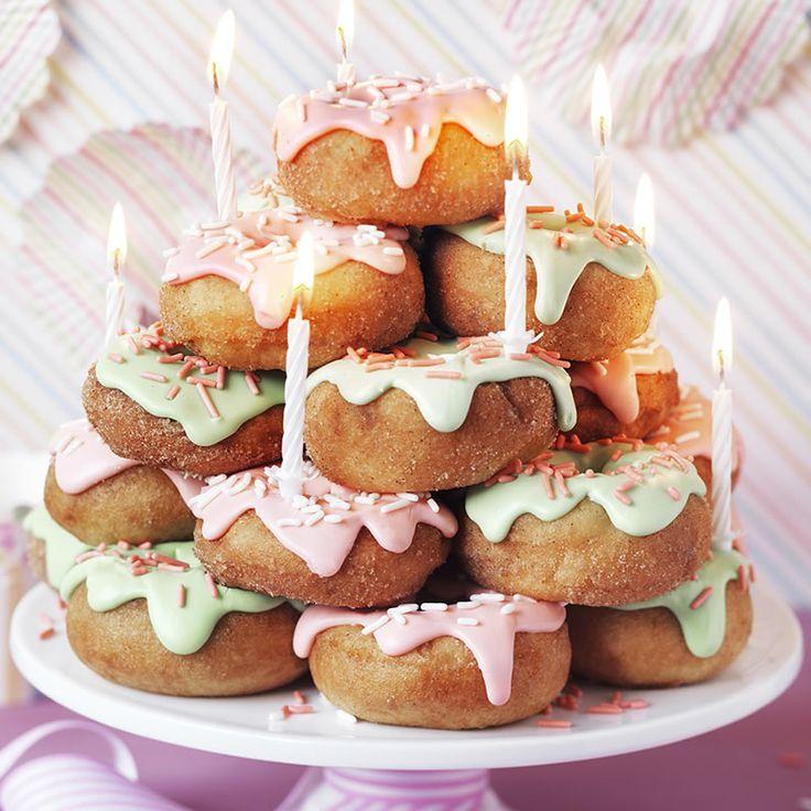 Donut cake how to stack cakes donut birthday cake