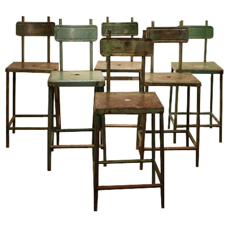 Set of six French Industrail stools  France  early-mid 20th century  Set of six old industrial shop stools from France