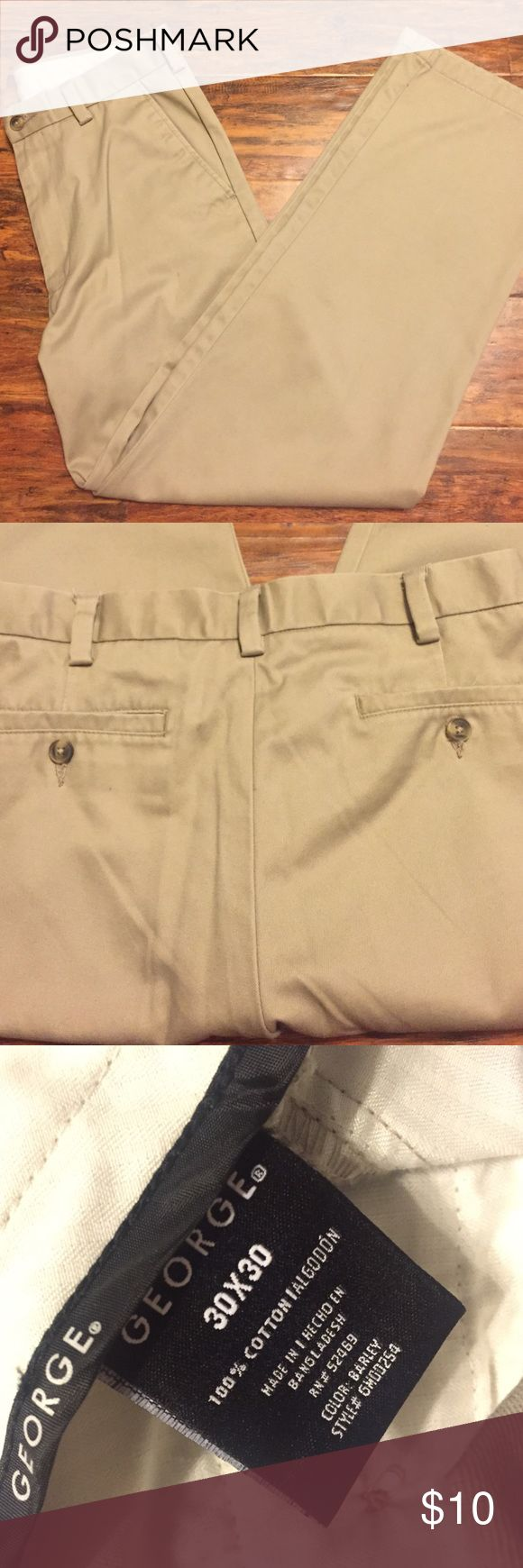 George Tan Dress Pants for Men Light tan George dress pants for men. In perfect condition, worn a few times; no signs of worn out/rips/tears/stains :) Comment & let me know if you're interested I'll have them shipped immediately! George Pants Dress