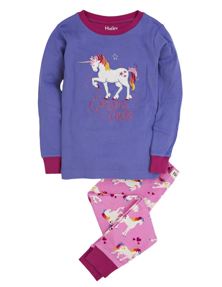 Hatley Little Girls' Pajama Set Applique - Unicorns, Purple, 4. Contrast cuffs. Snug fitting.