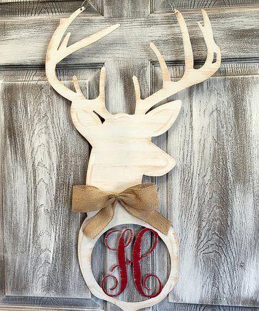 Another great find on #zulily! White Deer Head Initial Door Hanger #zulilyfinds