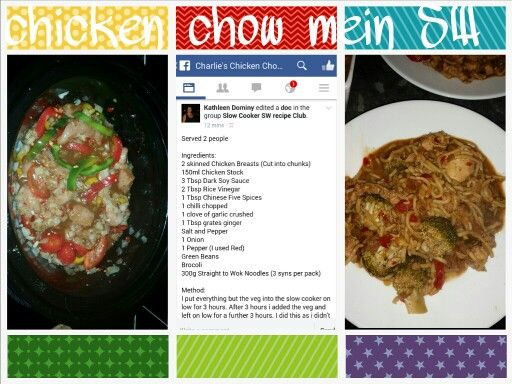 Chicken chow mein slimming world style in the slow cooker