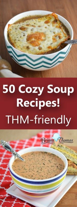 Here's a roundup of 50 Trim Healthy Mama friendly soup recipes!  S (low carb), E (low fat), and FP (low carb/low fat) options are all covered in this post.