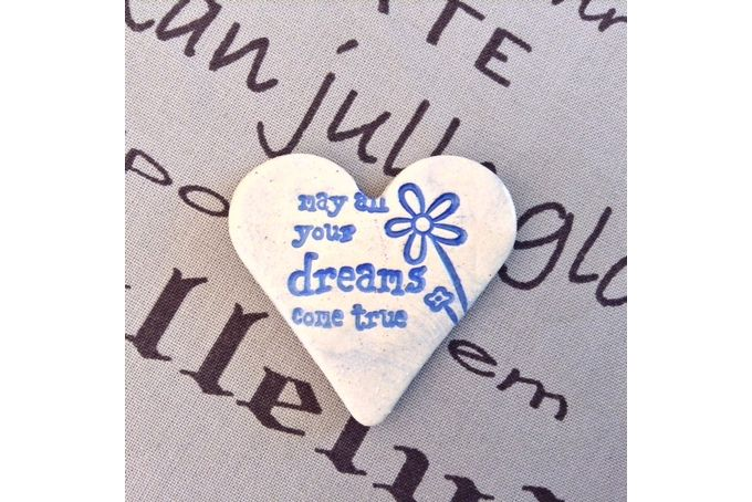 Handmade Ceramic Fridge Magnet - May all your dreams come true by Flower Tree Art & Ceramics