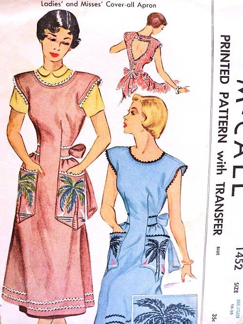 1940s Lovely Coverall Apron Pinafore or Sundress Pattern McCall 1452 Cutout Back Includes Tropical Iron On Embroidery Transfer Bust 32-34 Vintage Sewing Pattern