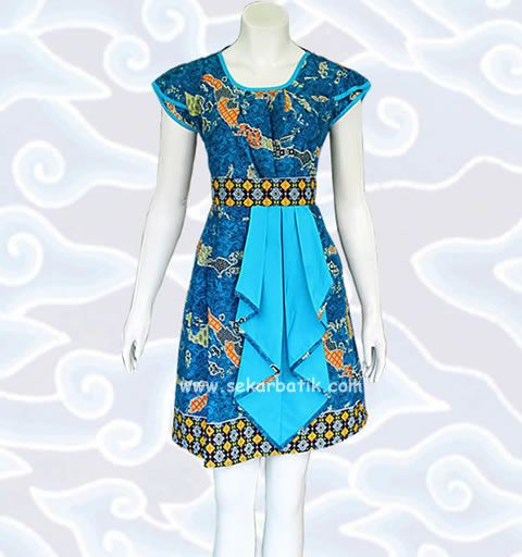 dress batik biru keren motif Nusantara BD47 koleksi toko online http://sekarbatik.com/dress-batik-wanita-modern-bd47/