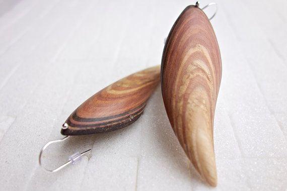 Wood Handmade shell earrings individual unique by JanosToldik
