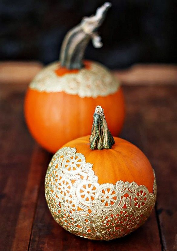 Add adorable gold doilies to your pumpkins.                              …
