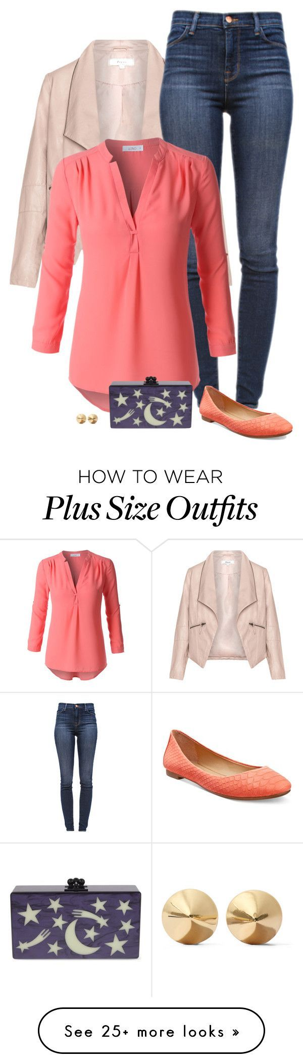 """""""cute clutch"""" by divacrafts on Polyvore featuring Zizzi, J Brand, LE3NO, Alfani, Edie Parker, Eddie Borgo, women's clothing, women, female and woman"""